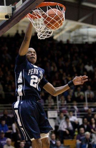 Penn State's Tim Frazier dunks against Northwestern during the first half of an NCAA college men's basketball game in Evanston, Ill., Thursday, Feb. 24, 2011. (AP Photo/Nam Y. Huh) By Nam Y. Huh