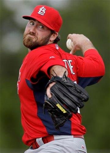 St. Louis Cardinals relief pitcher Jason Motte throws live batting practice during baseball spring training on Sunday, Feb. 20, 2011, in Jupiter, Fla. (AP Photo/Jeff Roberson) By Jeff Roberson