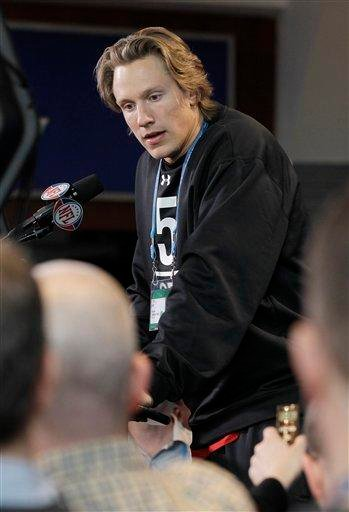 Missouri quarterback Blaine Gabbert responds to a question during the NFL football scouting combine in Indianapolis, Friday, Feb. 25, 2011. (AP Photo/Darron Cummings) By Darron Cummings