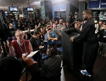 Alabama running back Mark Ingram responds to a question during a news conference during the NFL football scouting combine in Indianapolis, Friday, Feb. 25, 2011. (AP Photo/Darron Cummings) By Darron Cummings
