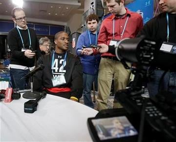 Indiana wide receiver Terrance Turner responds to a question during the NFL football scouting combine in Indianapolis, Friday, Feb. 25, 2011. (AP Photo/Darron Cummings) By Darron Cummings