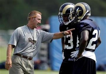 St. Louis Rams head coach Steve Spagnuolo, left, talks with cornerbacks Jerome Murphy, center, and Ron Bartell, right, during NFL football training camp on Sunday, July 31, 2011, in St. Louis. (AP Photo/Jeff Roberson) By Jeff Roberson