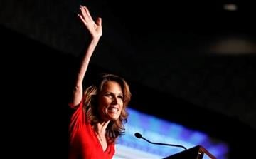 Republican presidential candidate Rep. Michele Bachmann, R-Minn., speaks during the California Republican Party Fall Convention dinner in Los Angeles, Friday, Sept. 16, 2011. (AP Photo/Chris Carlson) By Chris Carlson