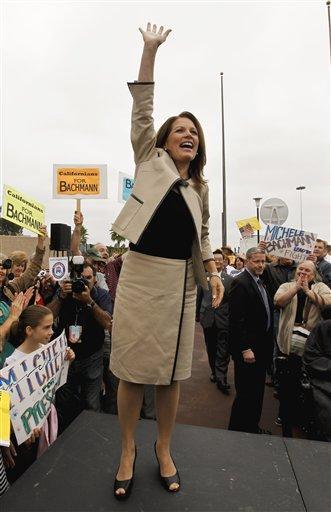Republican presidential candidate, Rep. Michele Bachmann, R-Minn., arrives for a rally in Costa Mesa, Calif., Friday, Sept. 16, 2011. (AP Photo/Chris Carlson) By Chris Carlson