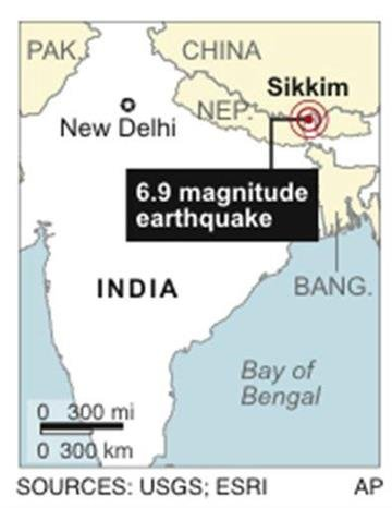 Map locates Sikkim, India, where an earthquake has occurred. By J. Bell