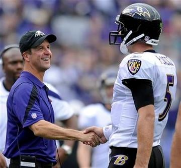 Baltimore Ravens coach John Harbaugh, left, shakes hands with quarterback Joe Flacco in the final minutes of an NFL football game against the Pittsburgh Steelers in Baltimore, Sunday, Sept. 11, 2011. Baltimore won 35-7. (AP Photo/Nick Wass) By Nick Wass