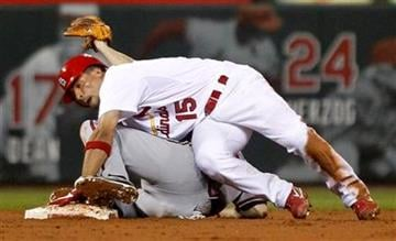 St. Louis Cardinals' Rafael Furcal (15) is tagged out by Atlanta Braves second baseman Jack Wilson  to end the seventh inning of a baseball game on Friday, Sept. 9, 2011, in St. Louis. (AP Photo/Jeff Roberson) By Jeff Roberson