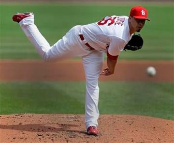 St. Louis Cardinals starting pitcher Kyle Lohse delivers in the third inning of a baseball game against the Chicago Cubs, Saturday, Sept. 24, 2011, in St. Louis.(AP Photo/Tom Gannam) By Tom Gannam