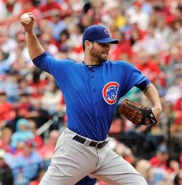 Chicago Cubs starting pitcher Randy Wells throws to the St. Louis Cardinals in the first inning in a baseball game Sunday, Sept. 25, 2011, in St. Louis. (AP Photo/Bill Boyce) By Bill Boyce