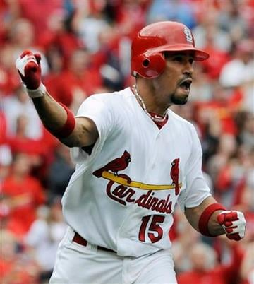 St. Louis Cardinals' Rafael Furcal celebrates his solo home run against the Chicago Cubs in the eighth inning in a baseball game Sunday, Sept. 25, 2011, in St. Louis. The Cardinals won 3-2 (AP Photo/Bill Boyce) By Bill Boyce