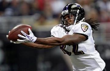 Baltimore Ravens wide receiver Torrey Smith catches a 41-yard touchdown pass during the first quarter of an NFL football game against the St. Louis Rams, Sunday, Sept. 25, 2011, in St. Louis. (AP Photo/Tom Gannam) By Tom Gannam