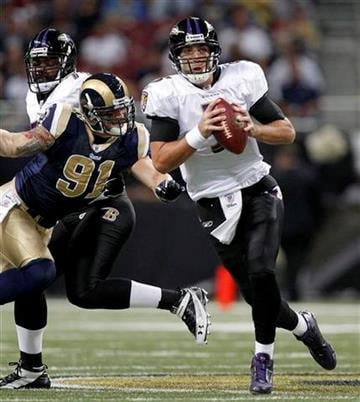 Baltimore Ravens quarterback Joe Flacco, right, scrambles away from St. Louis Rams defensive end Chris Long, left, during the first quarter of an NFL football game on Sunday, Sept. 25, 2011, in St. Louis. (AP Photo/Jeff Roberson) By Jeff Roberson