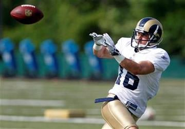 St. Louis Rams wide receiver Danny Amendola catches a pass during NFL football training camp on Thursday, Aug. 4, 2011, at the Rams' training facility in St. Louis. (AP Photo/Jeff Roberson) By Jeff Roberson