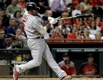 St. Louis Cardinals' Albert Pujols breaks his bat on a foul ball in the first inning against the Houston Astros in a baseball game Wednesday, Sept. 28, 2011, in Houston. (AP Photo/Pat Sullivan) By Pat Sullivan