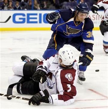 Colorado Avalanche's Ryan O'Byrne (3) slips as he chases a loose puck along side St. Louis Blues' Matt D'Agostini during the second period of a preseason NHL hockey game on Thursday, Sept. 29, 2011, in St. Louis. (AP Photo/Jeff Roberson) By Jeff Roberson