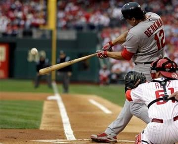 St. Louis Cardinals' Lance Berkman (12) hits a three-run home run in the first inning in Game 1 of baseball's National League division series against the Philadelphia Phillies  Saturday, Oct. 1, 2011 in Philadelphia. (AP Photo/Matt Slocum) By Matt Slocum