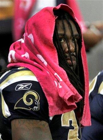 St. Louis Rams running back Steven Jackson looks on from the bench during the third quarter of an NFL football game against the Washington Redskins, Sunday, Oct. 2, 2011, in St. Louis. (AP Photo/Seth Perlman) By Seth Perlman