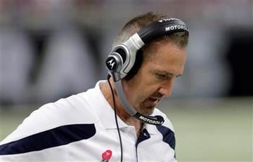 St. Louis Rams coach Steve Spagnuolo stands the sidelines during the first quarter of the NFL football game against the Washington Redskins on Sunday, Oct. 2, 2011, in St. Louis. (AP Photo/Seth Perlman) By Seth Perlman
