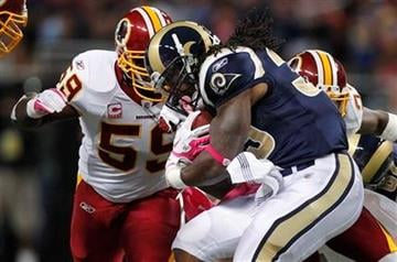 St. Louis Rams running back Steven Jackson (39) runs with the ball during the first quarter of an NFL football game against the Washington Redskins on Sunday, Oct. 2, 2011, in St. Louis. (AP Photo/Jeff Roberson) By Jeff Roberson