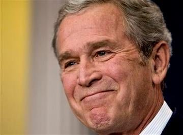 President George W. Bush smiles during his last formal news conference in the press room at the White House in Washington, Monday, Jan. 12, 2009. (AP Photo/J. Scott Applewhite) By J. Scott Applewhite