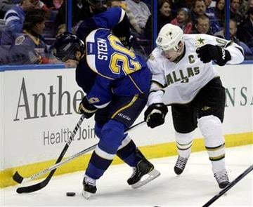 St. Louis Blues' Alexander Steen (20) battles Dallas Stars' Brenden Morrow (10) for the loose puck in the first period of an NHL hockey game, Monday, Dec. 26, 2011 in St. Louis.(AP Photo/Tom Gannam) By Tom Gannam