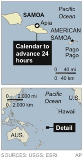 Map locates Samoa; country plans to move their calendar forward one day by moving across the International Dateline By STAFF