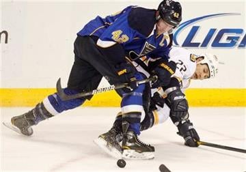 St. Louis Blues' David Backes, left, and Nashville Predators' Jordin Tootoo, right, fight for the puck during the second period of an NHL hockey game Friday, Dec. 30, 2011, in St. Louis. (AP Photo/Sarah Conard) By Sarah Conard