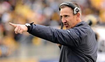 St. Louis Rams head coach Steve Spagnuolo points onto the field as his team plays against the Pittsburgh Steeler in an NFL football game on Saturday, Dec. 24, 2011, in Pittsburgh. The Steelers won 27-0. (AP Photo/Don Wright) By Don Wright