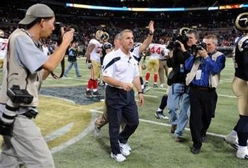 St. Louis Rams head coach Steve Spagnuolo walks off the field following the Rams 34-27 loss to the San Francisco 49ers in an NFL football game Sunday, Jan. 1, 2012, in St. Louis. (AP Photo/L.G. Patterson) By L.G. Patterson