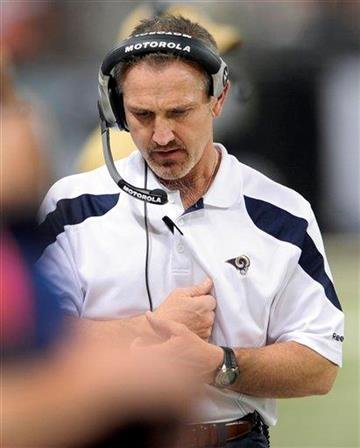 St. Louis Rams head coach Steve Spagnuolo stands on the sidelines during the first quarter of an NFL football game against the San Francisco 49ers Sunday, Jan. 1, 2012, in St. Louis. (AP Photo/L.G. Patterson) By L.G. Patterson