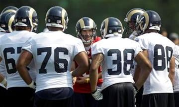 St. Louis Rams quarterback Sam Bradford, center, calls a play in the huddle during NFL football training camp Sunday, July 31, 2011, at the Rams' training facility in St. Louis. (AP Photo/Jeff Roberson) By Jeff Roberson