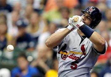 St. Louis Cardinals' Albert Pujols grounds out to the catcher during the seventh inning of a baseball game against the Milwaukee Brewers Monday, Aug. 1, 2011, in Milwaukee. (AP Photo/Jeffrey Phelps) By Jeffrey Phelps