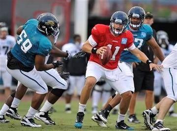 Jacksonville Jaguars rookie quarterback Blaine Gabbert (11) looks to escape pressure from defensive end Larry Hart (59) during NFL football training camp Sunday, July 31, 2011, in Jacksonville, Fla. (AP Photo/Rick Wilson) By Rick Wilson