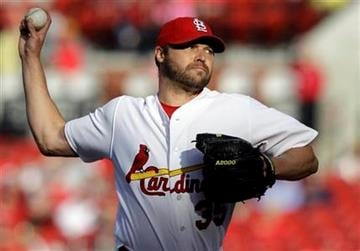 St. Louis Cardinals starting pitcher Jake Westbrook delivers a pitch during the first inning of a baseball game against the Philadelphia Phillies Monday, May 16, 2011, in St. Louis. (AP Photo/Jeff Roberson) By Jeff Roberson