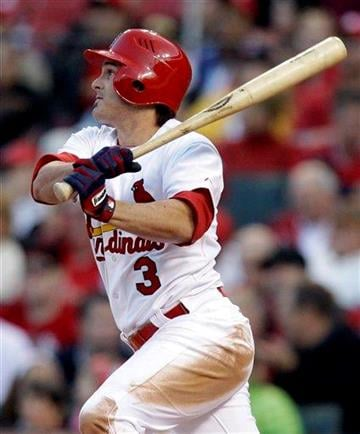 St. Louis Cardinals' Ryan Theriot hits an RBI-single during the fourth inning of a baseball game against the Philadelphia Phillies Monday, May 16, 2011, in St. Louis. (AP Photo/Jeff Roberson) By Jeff Roberson
