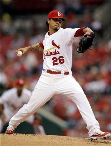 St. Louis Cardinals starting pitcher Kyle Lohse throws during the first inning of a baseball game against the Houston Astros on Wednesday, May 18, 2011, in St. Louis. (AP Photo/Jeff Roberson) By Jeff Roberson