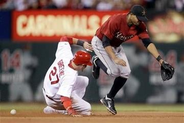 St. Louis Cardinals' Tyler Greene, left, is safe at second for a stolen base as Houston Astros second baseman Angel Sanchez covers during the fifth inning of a baseball game Wednesday, May 18, 2011, in St. Louis. (AP Photo/Jeff Roberson) By Jeff Roberson