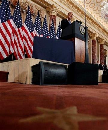 President Barack Obama delivers a policy address on events in the Middle East at the State Department in Washington, Thursday, May 19, 2011. (AP Photo/Charles Dharapak) By Charles Dharapak