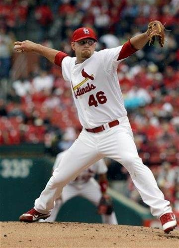St. Louis Cardinals starting pitcher Kyle McClellan throws during the first inning of a baseball game against the Houston Astros Thursday, May 19, 2011, in St. Louis. (AP Photo/Jeff Roberson) By Jeff Roberson