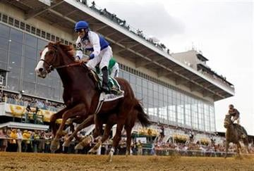 Shackleford, foreground, ridden by Jesus Castanon, moves through the finish line to win the 136th Preakness Stakes horse race at Pimlico Race Course, Saturday, May 21, 2011, in Baltimore. (AP Photo/Matt Slocum) By Matt Slocum