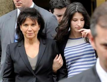 Anne Sinclair, wife of Dominique Strauss Kahn exits State Supreme court with her daughter Camille, Thursday, May 19, 2011, in New York.  (AP Photo/Louis Lanzano) By Louis Lanzano