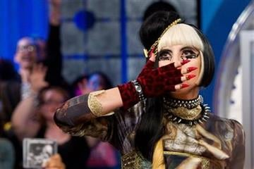 """Lady Gaga tapes an episode of """"106 and Park"""" at BET Studios in New York, Monday, May 23, 2011. (AP Photo/Charles Sykes) By Charles Sykes"""