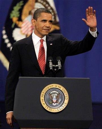President Barack Obama waves before speaking about his Afghanistan policy before cadets at the U.S. Military Academy at West Point, N.Y., on Tuesday, Dec. 1, 2009. (AP Photo/Julie Jacobson) By Julie Jacobson