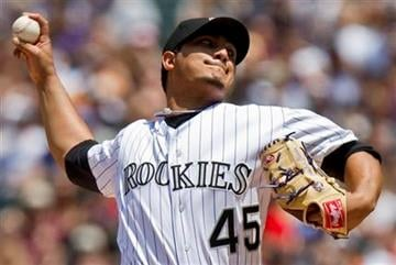 Colorado Rockies starting pitcher Jhoulys Chacin (45) pitches against the St. Louis Cardinals during the first inning of a baseball game Sunday, May 29, 2011 in Denver. (AP Photo/Barry Gutierrez) By Barry Gutierrez