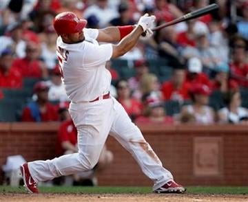 St. Louis Cardinals first baseman Albert Pujols connects for a solo home run in the eighth inning of a baseball game against the San Francisco Giants, Monday, May 30, 2011 in St. Louis. The Giants beat the Cardinals 7-3.(AP Photo/Tom Gannam) By Tom Gannam