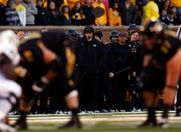 COLUMBIA, MO - OCTOBER 06:  Head coach Gary Pinkel of he Missouri Tigers watches action from the sidelines during the game against the Vanderbilt Commodores on October 6, 2012 in Columbia, Missouri.  (Photo by Jamie Squire/Getty Images) By Jamie Squire