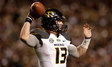 COLLEGE STATION, TX - NOVEMBER 24:  Corbin Berkstresser #13 of the Missouri Tigers throws a pass against the Texas A&M Aggies at Kyle Field on November 24, 2012 in College Station, Texas.  (Photo by Scott Halleran/Getty Images) By Scott Halleran