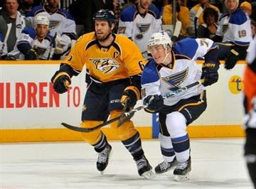 NASHVILLE, TN - OCTOBER 26:  Shea Weber #6 of the Nashville Predators skates against T.J. Oshie #74 of the St. Louis Blues at Bridgestone Arena on October 26, 2013 in Nashville, Tennessee.  (Photo by Frederick Breedon/Getty Images) By Frederick Breedon