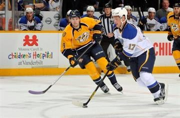 NASHVILLE, TN - OCTOBER 26:  Filip Forsberg #9 skates against Vladimir Sobotka #17 of the St. Louis Blues at Bridgestone Arena on October 26, 2013 in Nashville, Tennessee.  (Photo by Frederick Breedon/Getty Images) By Frederick Breedon