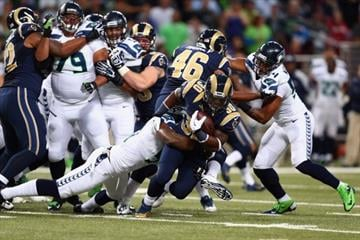 ST LOUIS, MO - OCTOBER 28: Zac Stacy #30 of the St Louis Rams runs with the ball against the Seattle Seahawks during an NFL game at Edward Jones Dome on October 28, 2013 in St Louis, Missouri.  (Photo by Andy Lyons/Getty Images) By Andy Lyons